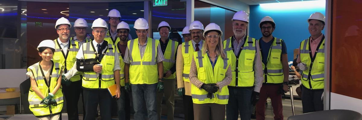 ITAC members tour a new building on campus