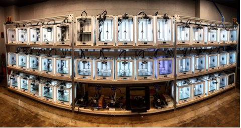 Fisheye view of 3 rows of 3D printers